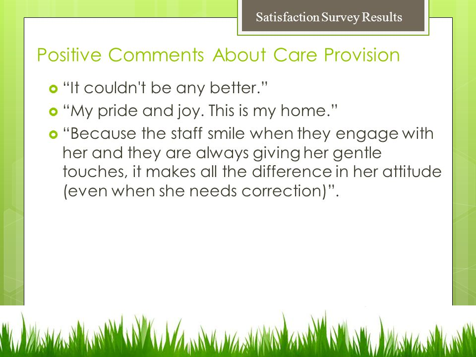 Positive Comments About Care Provision  It couldn t be any better.  My pride and joy.