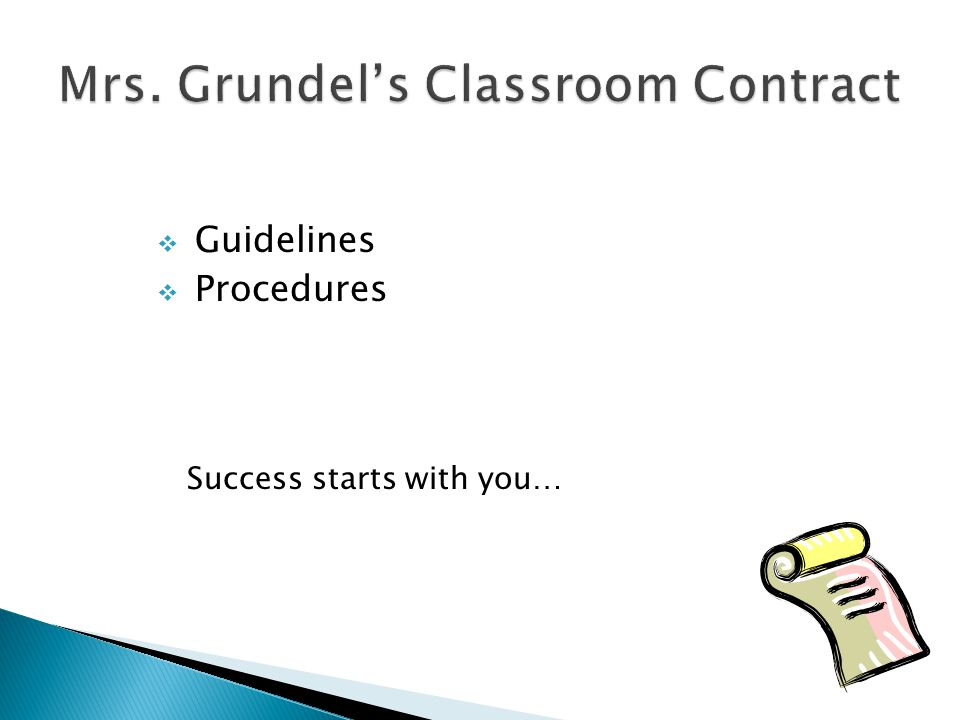  Guidelines  Procedures Success starts with you…