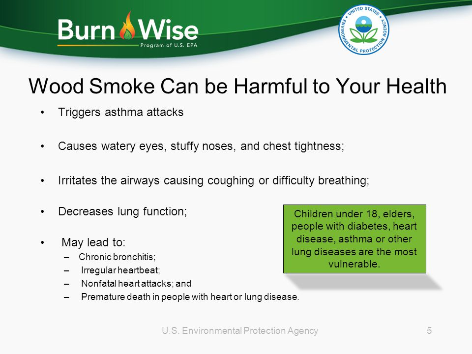 Wood Smoke Can be Harmful to Your Health Triggers asthma attacks Causes watery eyes, stuffy noses, and chest tightness; Irritates the airways causing coughing or difficulty breathing; Decreases lung function; May lead to: –Chronic bronchitis; – Irregular heartbeat; – Nonfatal heart attacks; and – Premature death in people with heart or lung disease.