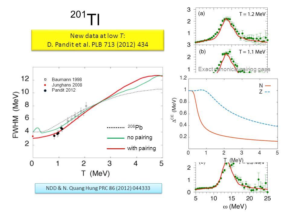 Tl 201 New data at low T: D. Pandit et al. PLB 713 (2012) 434 New data at low T: D.