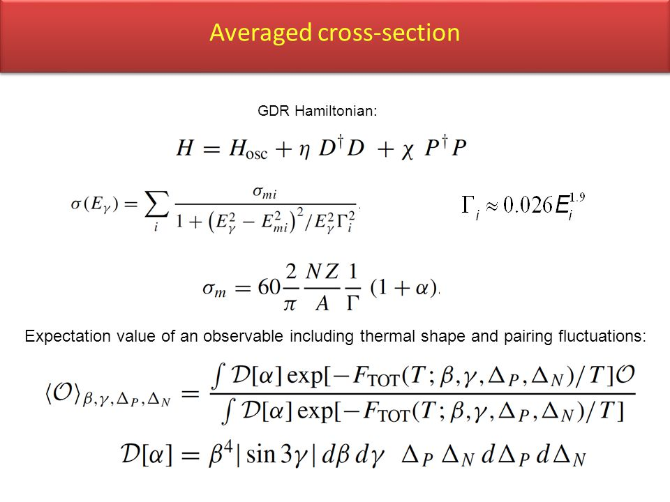 Averaged cross-section GDR Hamiltonian: Expectation value of an observable including thermal shape and pairing fluctuations: