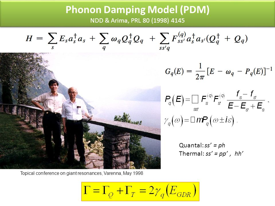 Phonon Damping Model (PDM) NDD & Arima, PRL 80 (1998) 4145 Quantal: ss' = ph Thermal: ss' = pp', hh' Topical conference on giant resonances, Varenna, May 1998