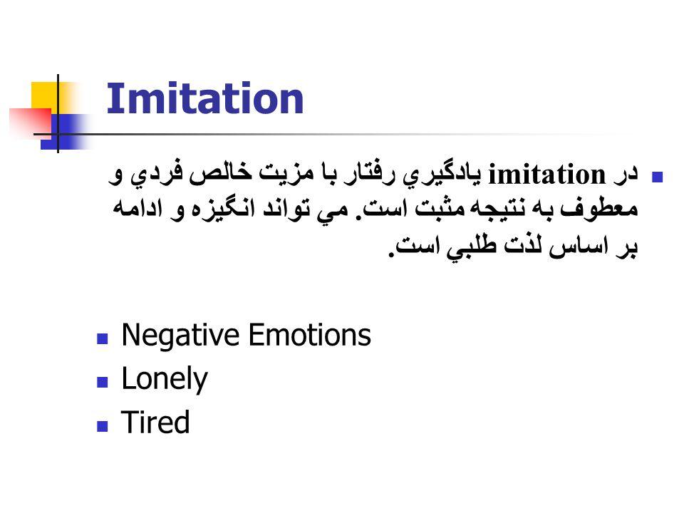 Imitation در imitation يادگيري رفتار با مزيت خالص فردي و معطوف به نتيجه مثبت است. مي تواند انگيزه و ادامه بر اساس لذت طلبي است. Negative Emotions Lone