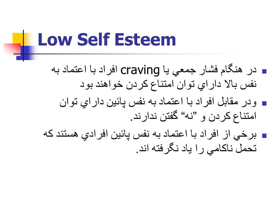Low Self Esteem در هنگام فشار جمعي يا craving افراد با اعتماد به نفس بالا داراي توان امتناع كردن خواهند بود ودر مقابل افراد با اعتماد به نفس پائين داراي توان امتناع كردن و نه گفتن ندارند.