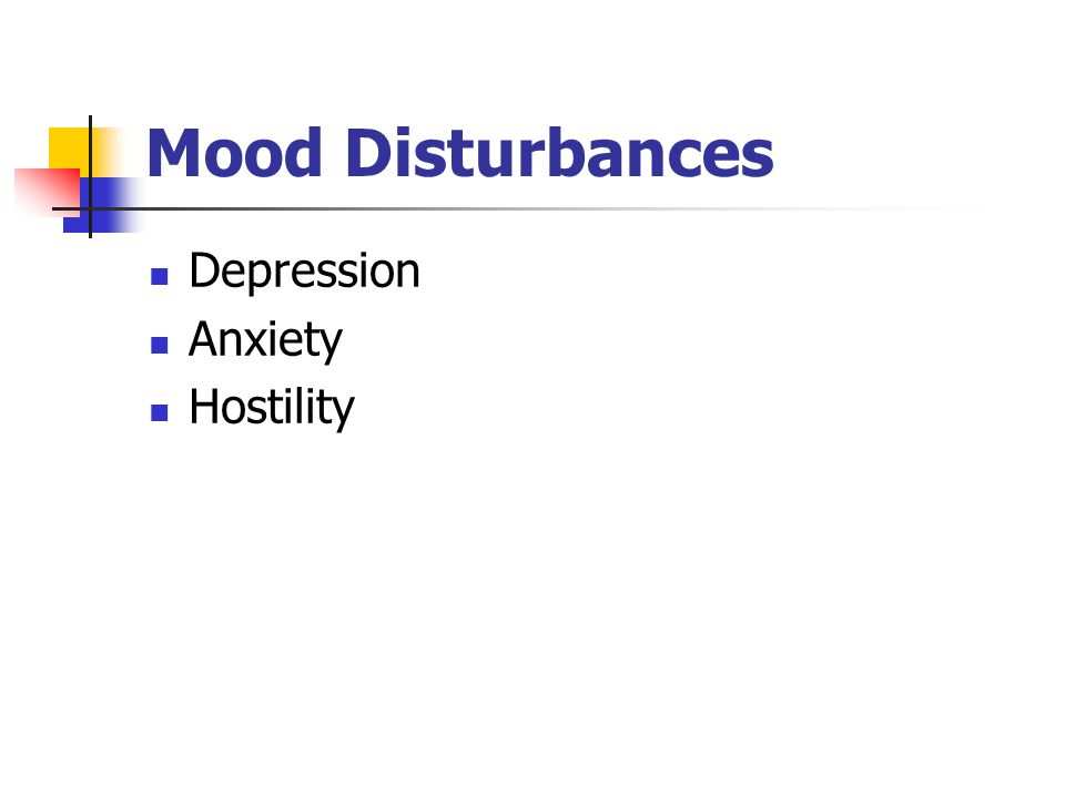 Mood Disturbances Depression Anxiety Hostility