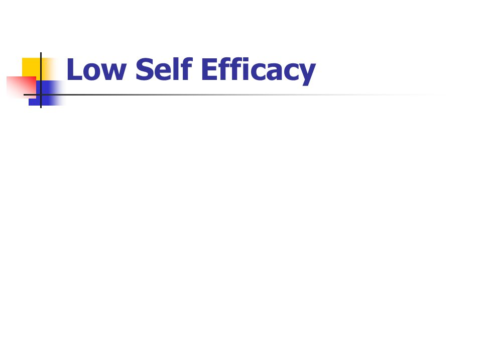 Low Self Efficacy
