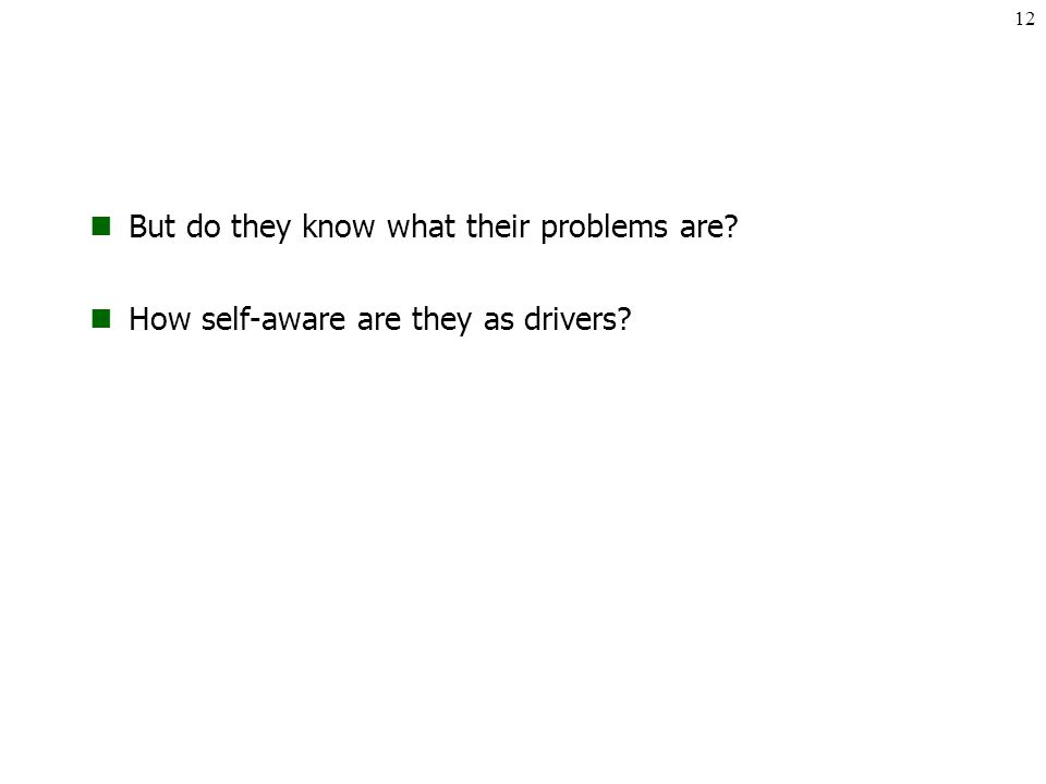 But do they know what their problems are How self-aware are they as drivers 12