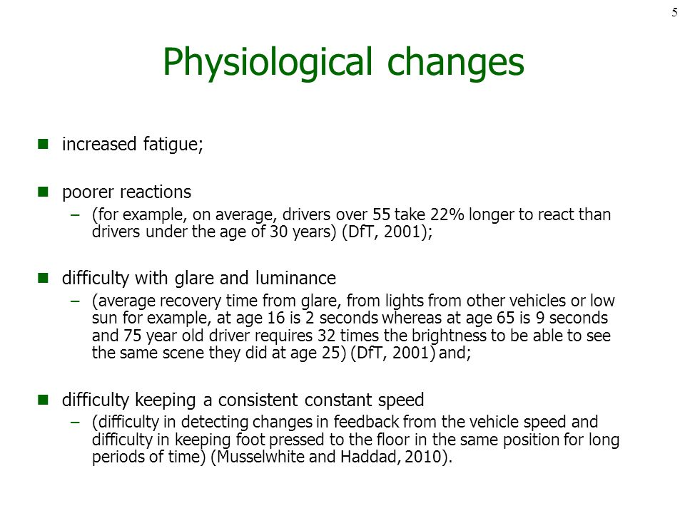 Physiological changes increased fatigue; poorer reactions –(for example, on average, drivers over 55 take 22% longer to react than drivers under the age of 30 years) (DfT, 2001); difficulty with glare and luminance –(average recovery time from glare, from lights from other vehicles or low sun for example, at age 16 is 2 seconds whereas at age 65 is 9 seconds and 75 year old driver requires 32 times the brightness to be able to see the same scene they did at age 25) (DfT, 2001) and; difficulty keeping a consistent constant speed –(difficulty in detecting changes in feedback from the vehicle speed and difficulty in keeping foot pressed to the floor in the same position for long periods of time) (Musselwhite and Haddad, 2010).