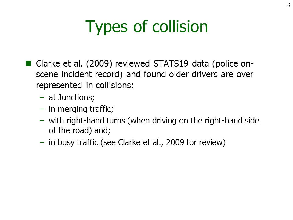 Types of collision Clarke et al.