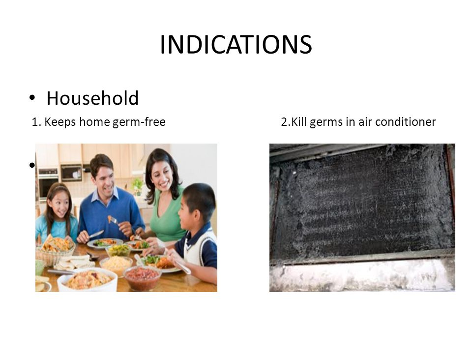 INDICATIONS Household 1. Keeps home germ-free 2.Kill germs in air conditioner