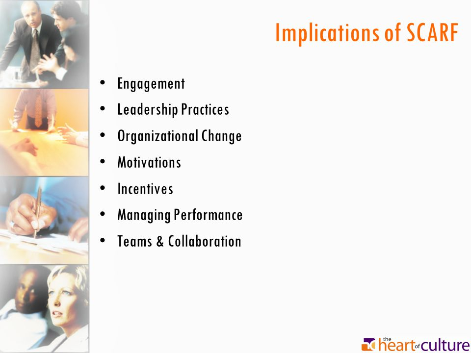 Implications of SCARF Engagement Leadership Practices Organizational Change Motivations Incentives Managing Performance Teams & Collaboration