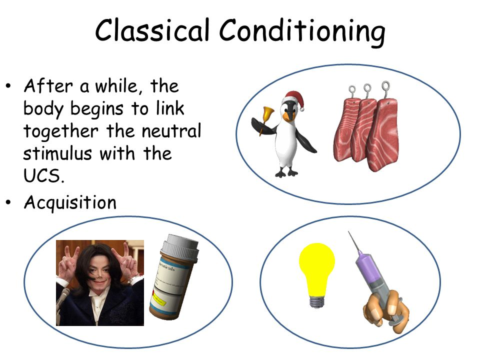 Classical Conditioning After a while, the body begins to link together the neutral stimulus with the UCS. Acquisition