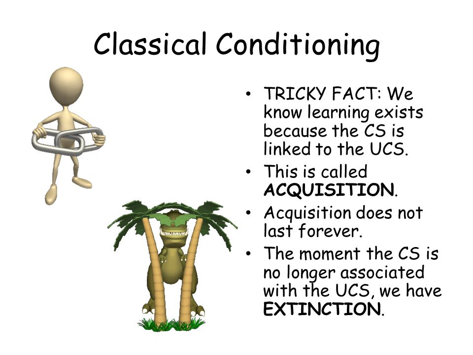 Classical Conditioning TRICKY FACT: We know learning exists because the CS is linked to the UCS. This is called ACQUISITION. Acquisition does not last