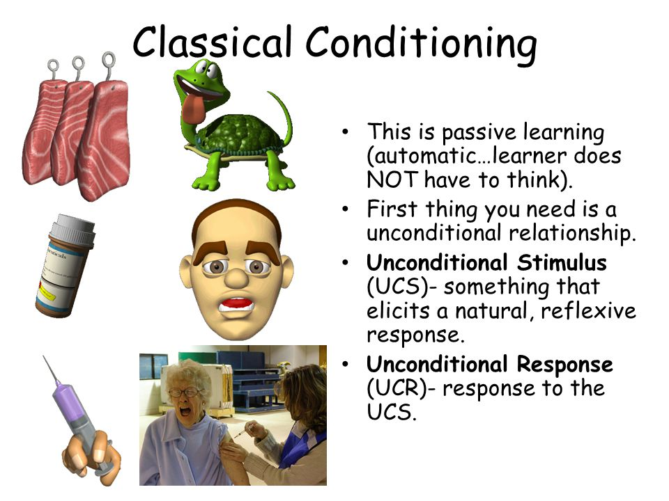 Classical Conditioning This is passive learning (automatic…learner does NOT have to think).