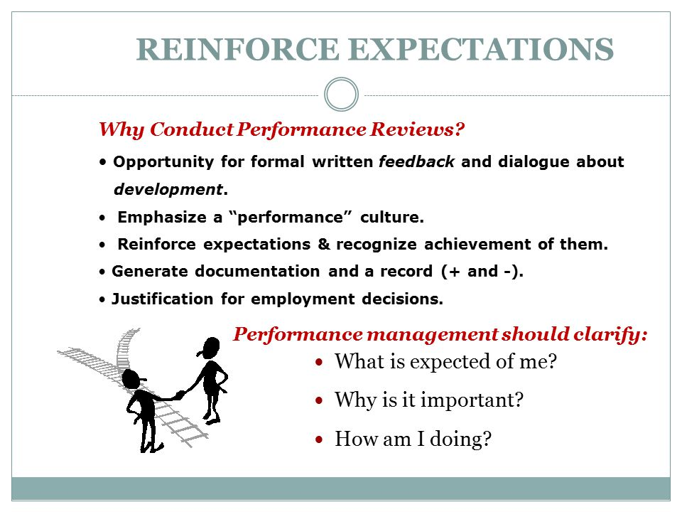 REINFORCE EXPECTATIONS What is expected of me? Why is it important? How am I doing? Why Conduct Performance Reviews? Opportunity for formal written fe