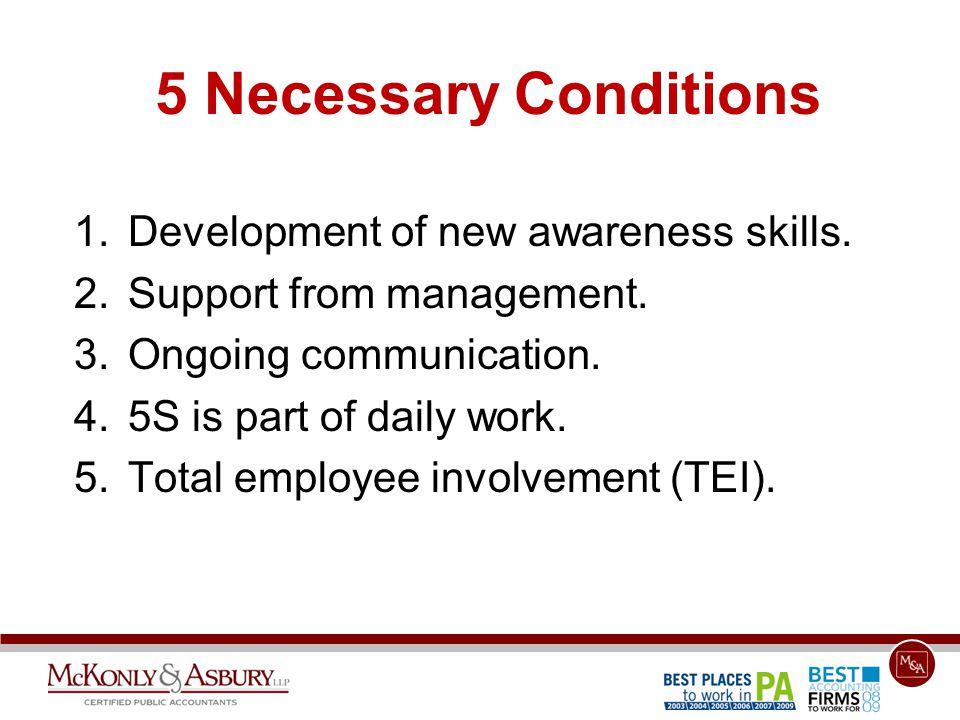 5 Necessary Conditions 1.Development of new awareness skills.