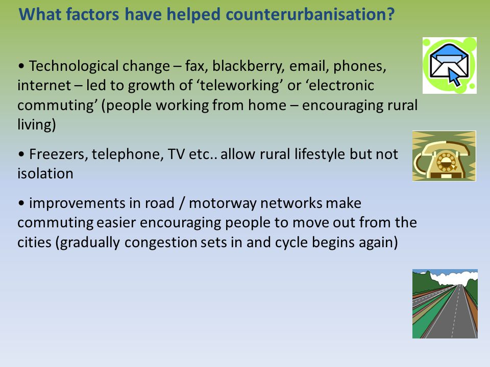 What factors have helped counterurbanisation? Technological change – fax, blackberry, email, phones, internet – led to growth of 'teleworking' or 'ele