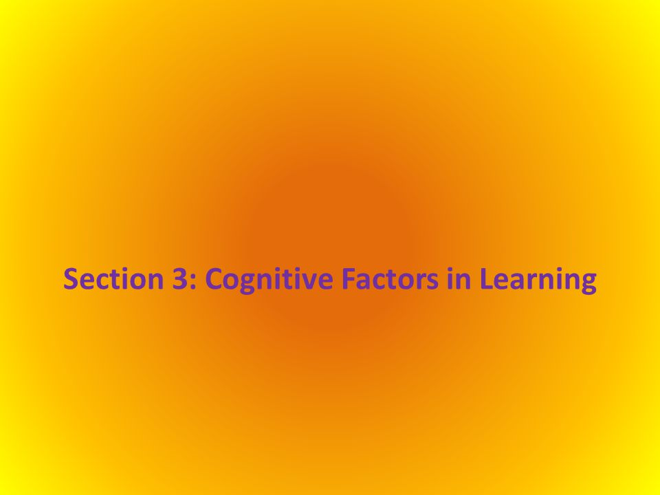 Section 3: Cognitive Factors in Learning