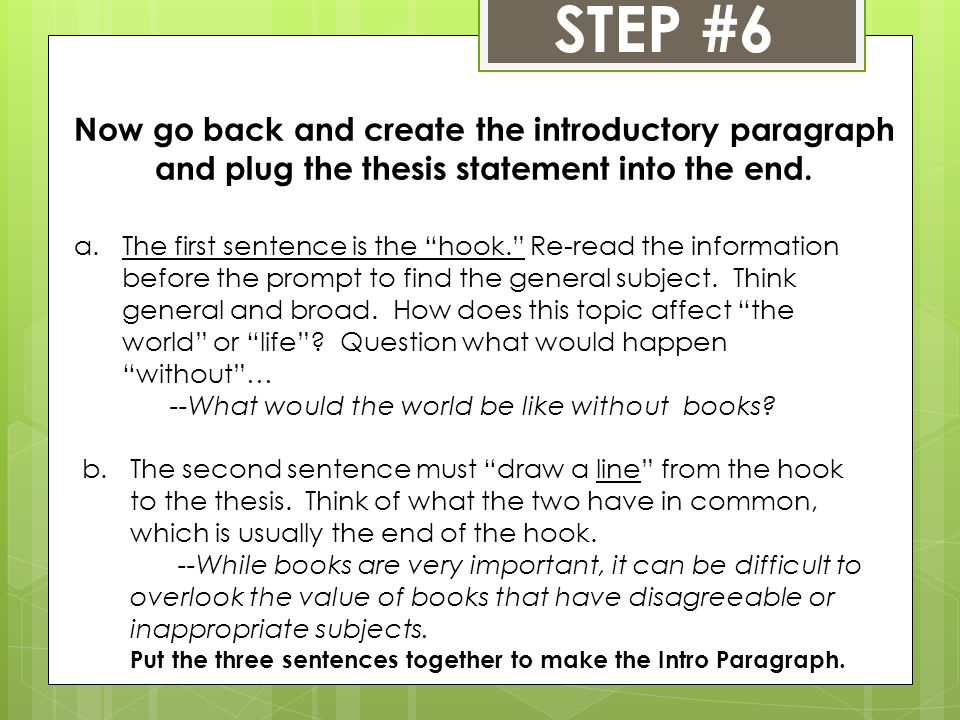 STEP #6 Now go back and create the introductory paragraph and plug the thesis statement into the end.