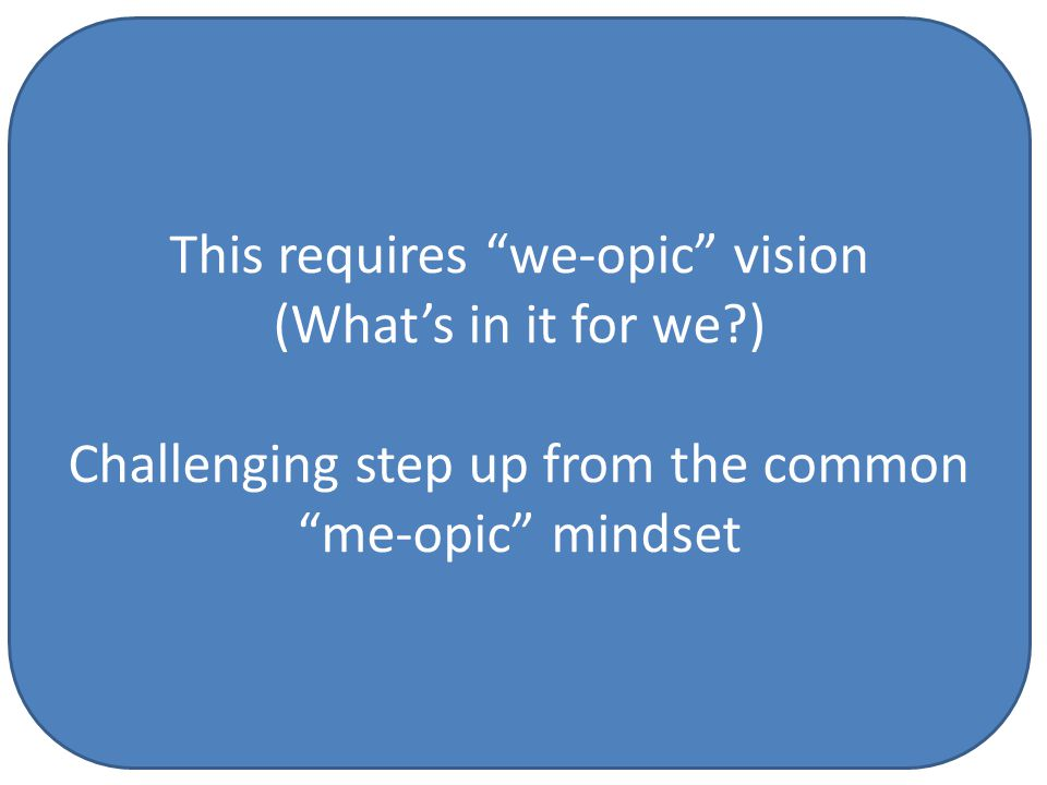 This requires we-opic vision (What's in it for we ) Challenging step up from the common me-opic mindset