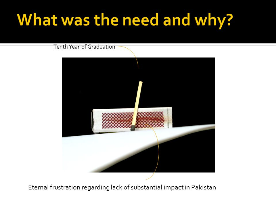 Tenth Year of Graduation Eternal frustration regarding lack of substantial impact in Pakistan