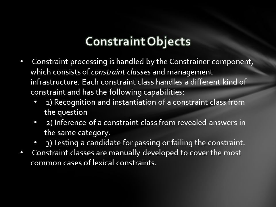 Constraint processing is handled by the Constrainer component, which consists of constraint classes and management infrastructure.
