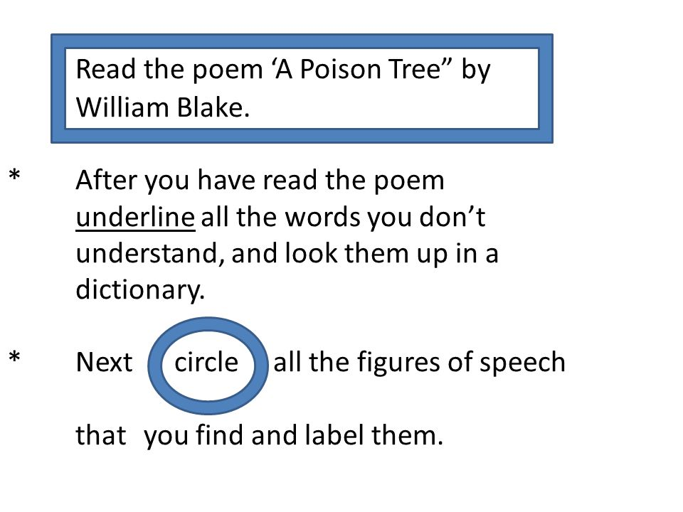 """Read the poem 'A Poison Tree"""" by William Blake. * After you have read the poem underline all the words you don't understand, and look them up in a dic"""