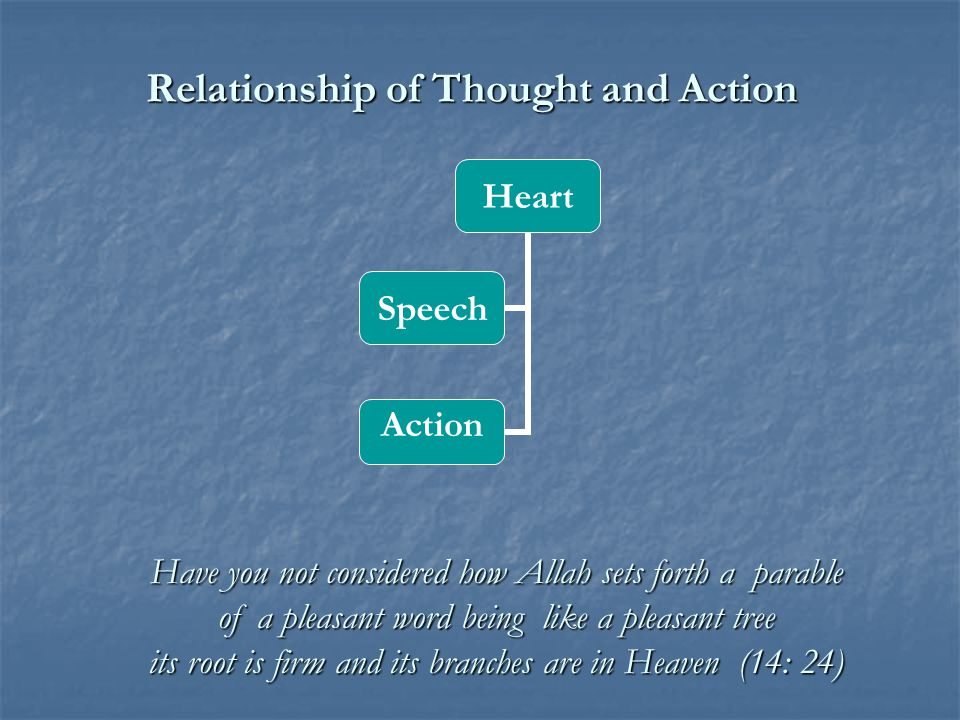 Relationship of Thought and Action Heart Speech Action Have you not considered how Allah sets forth a parable of a pleasant word being like a pleasant tree its root is firm and its branches are in Heaven (14: 24)