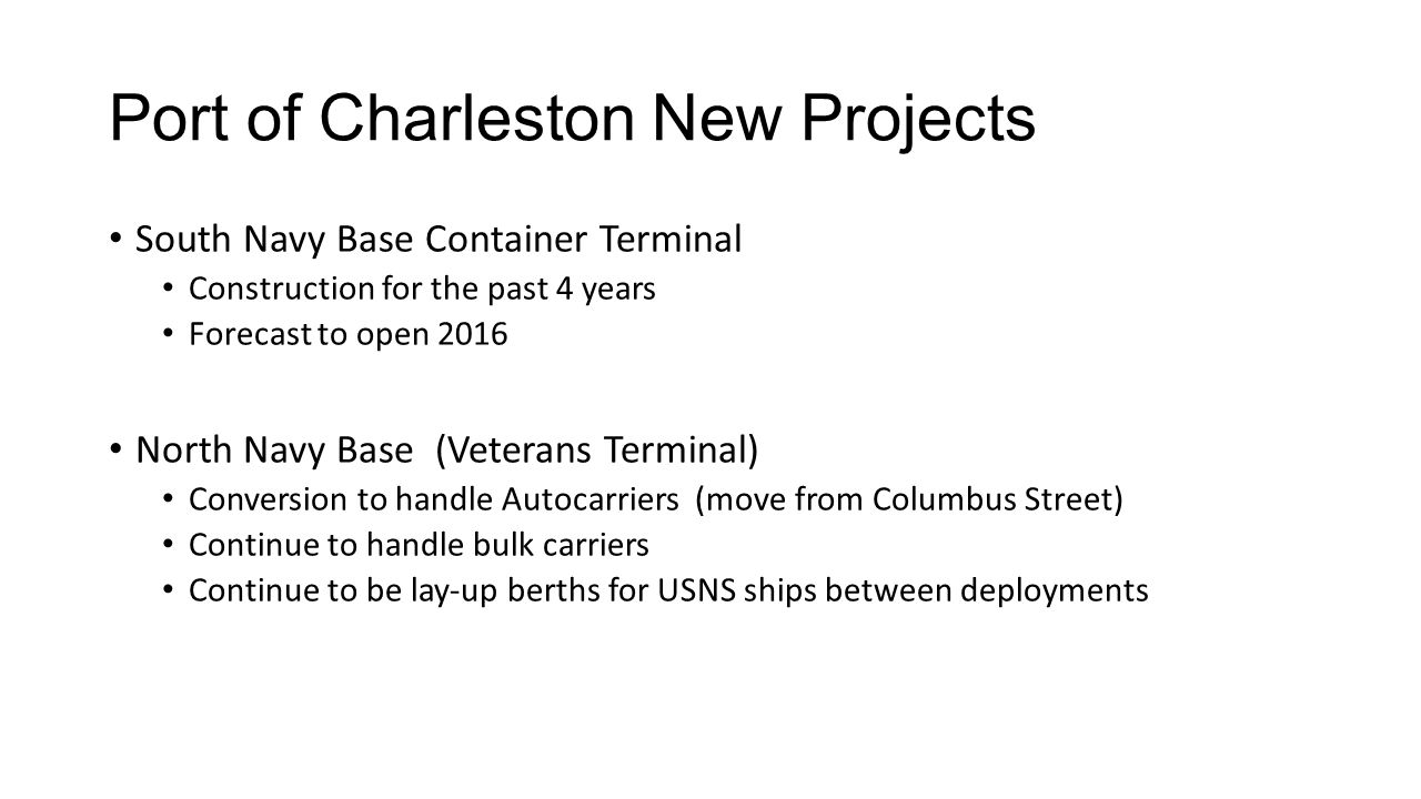 Port of Charleston New Projects South Navy Base Container Terminal Construction for the past 4 years Forecast to open 2016 North Navy Base (Veterans Terminal) Conversion to handle Autocarriers (move from Columbus Street) Continue to handle bulk carriers Continue to be lay-up berths for USNS ships between deployments
