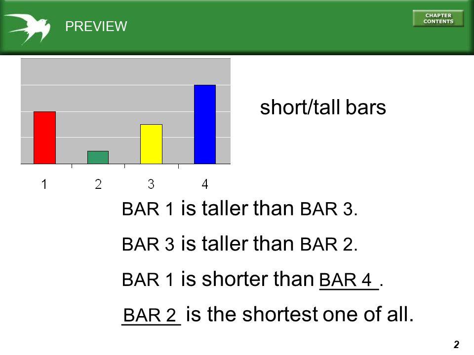 2 PREVIEW short/tall bars BAR 1 is taller than BAR 3. BAR 3 is taller than BAR 2. _____ is the shortest one of all. BAR 2 BAR 1 is shorter than _____.