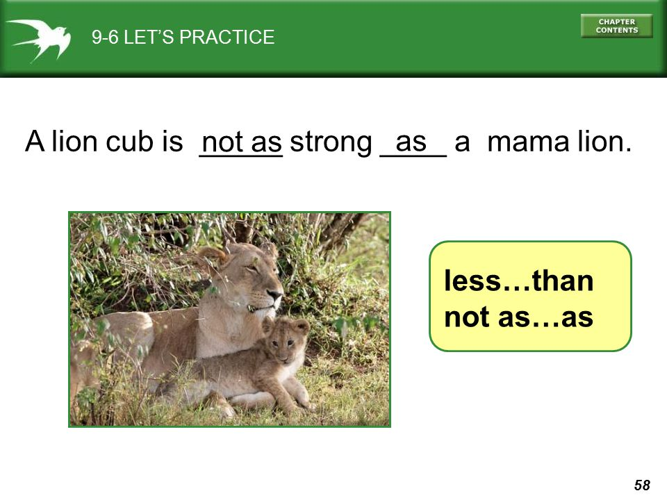 58 9-6 LET'S PRACTICE less…than not as…as A lion cub is _____ strong ____ a mama lion. not as as
