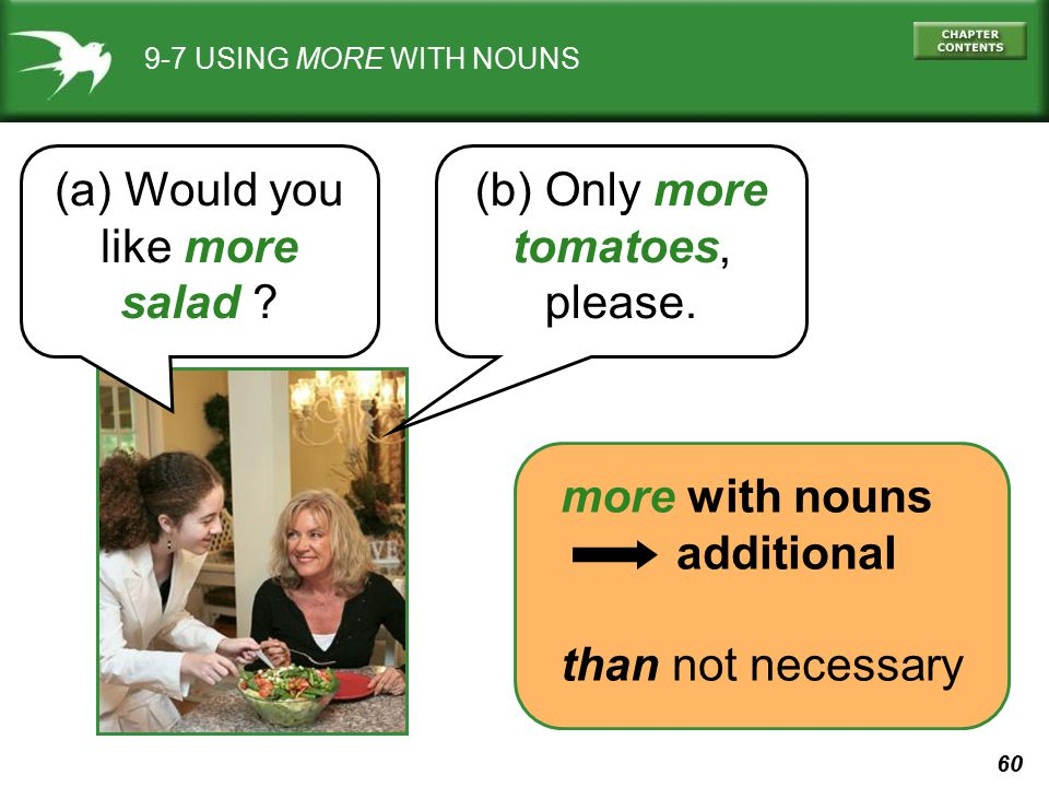 60 9-7 USING MORE WITH NOUNS (a) Would you like more salad ? (b) Only more tomatoes, please. more with nouns additional than not necessary