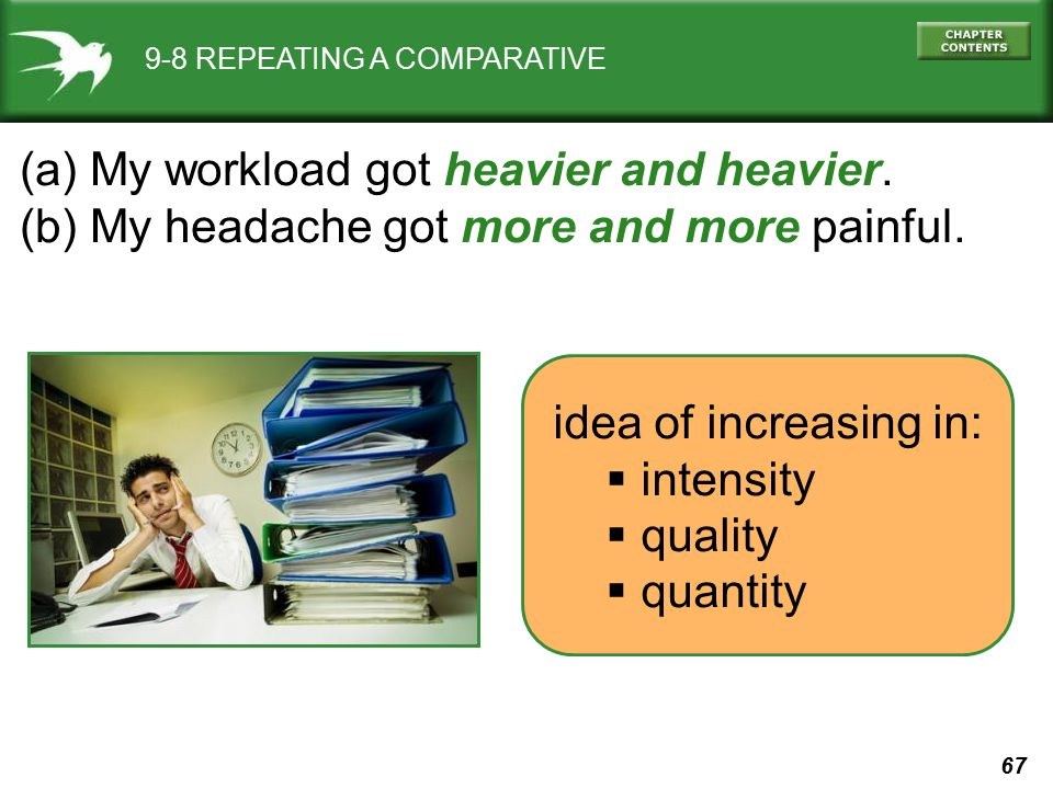 67 9-8 REPEATING A COMPARATIVE (a) My workload got heavier and heavier. (b) My headache got more and more painful. idea of increasing in:  intensity