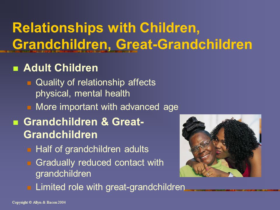 Copyright © Allyn & Bacon 2004 Relationships with Children, Grandchildren, Great-Grandchildren Adult Children Quality of relationship affects physical, mental health More important with advanced age Grandchildren & Great- Grandchildren Half of grandchildren adults Gradually reduced contact with grandchildren Limited role with great-grandchildren