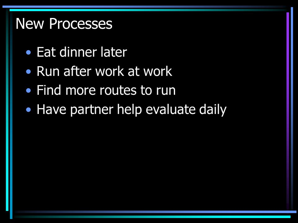 New Processes Eat dinner later Run after work at work Find more routes to run Have partner help evaluate daily