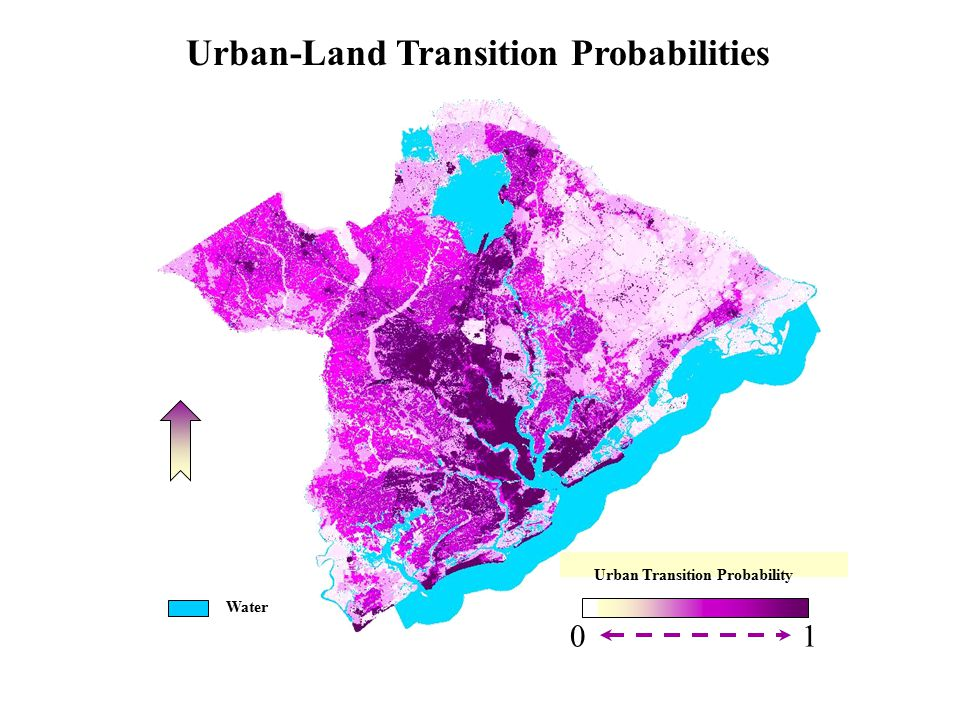 0 1 Urban Transition Probability Water Urban-Land Transition Probabilities