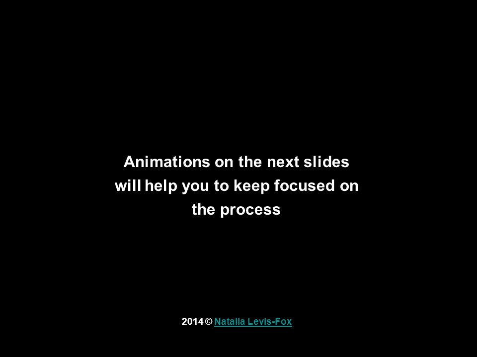 Animations on the next slides will help you to keep focused on the process 2014 © Natalia Levis-FoxNatalia Levis-Fox