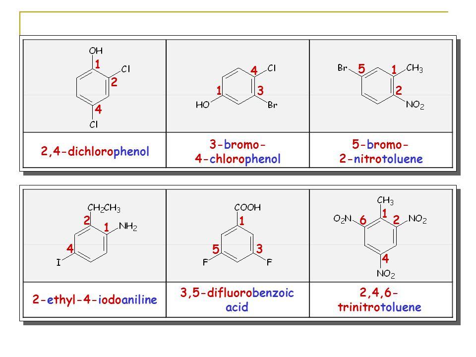 2,4-dichlorophenol 3-bromo- 4-chlorophenol 5-bromo- 2-nitrotoluene 1 2 4 13 4 1 2 5 2-ethyl-4-iodoaniline 3,5-difluorobenzoic acid 2,4,6- trinitrotoluene 1 2 4 1 3 5 1 2 4 6