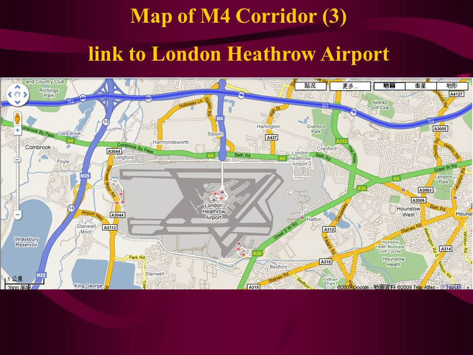 Map of M4 Corridor (3) link to London Heathrow Airport