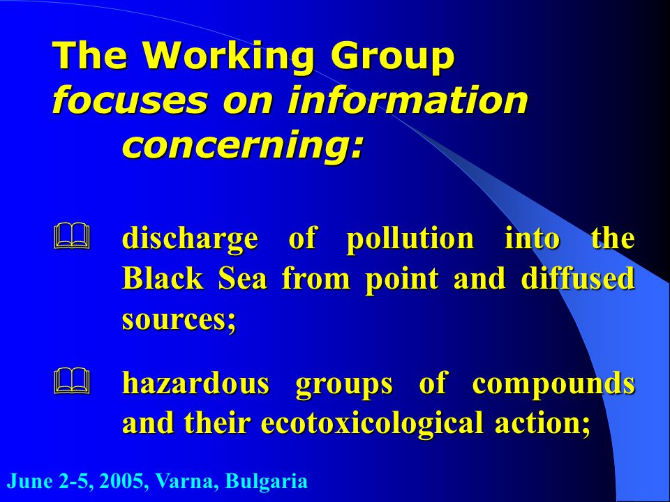 The Working Group focuses on information concerning: &discharge of pollution into the Black Sea from point and diffused sources; &hazardous groups of compounds and their ecotoxicological action; June 2-5, 2005, Varna, Bulgaria