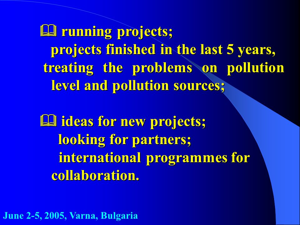 running projects;  running projects; projects finished in the last 5 years, projects finished in the last 5 years, treating the problems on polluti
