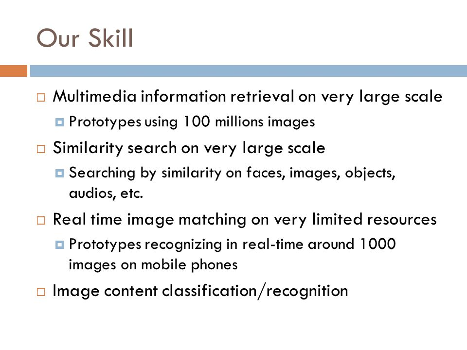 Our Skill  Multimedia information retrieval on very large scale  Prototypes using 100 millions images  Similarity search on very large scale  Searching by similarity on faces, images, objects, audios, etc.