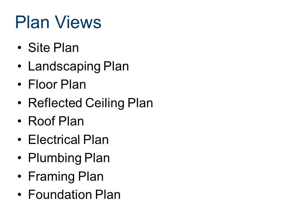 Site Plan Landscaping Plan Floor Plan Reflected Ceiling Plan Roof Plan Electrical Plan Plumbing Plan Framing Plan Foundation Plan Plan Views