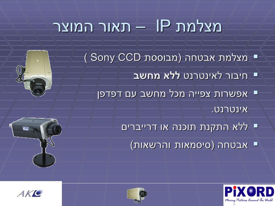 מצלמת IP – תאור המוצר  מצלמת אבטחה (מבוססת Sony CCD )  חיבור לאינטרנט ללא מחשב  אפשרות צפייה מכל מחשב עם דפדפן אינטרנט.
