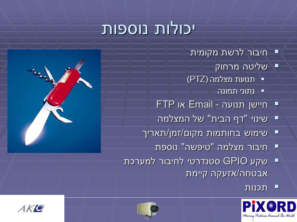 יכולות נוספות  חיבור לרשת מקומית  שליטה מרחוק  תנועת מצלמה (PTZ)  נתוני תמונה  חיישן תנועה - Email או FTP  שינוי דף הבית של המצלמה  שימוש בחותמות מקום/זמן/תאריך  חיבור מצלמה טיפשה נוספת  שקע GPIO סטנדרטי לחיבור למערכת אבטחה/אזעקה קיימת  תכנות