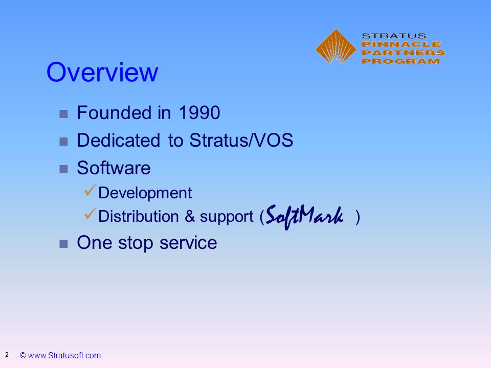 © www.Stratusoft.com 13 DRMS reliability and SoftMark s extraordinary responsiveness to our business needs and support questions has made the implementation of our Disaster- Recovery plans an easy, pleasant and trouble-free experience. Anders Carlsson, Stratus Platform Manager, ICA Handlarnas AB, Sweden