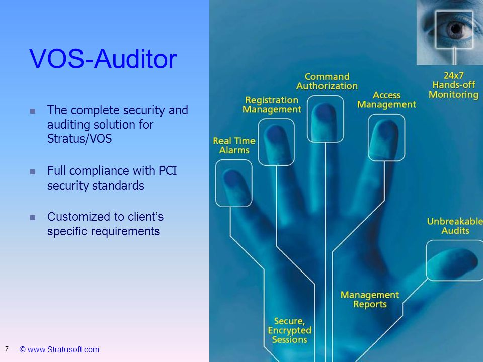 © www.Stratusoft.com 7 VOS-Auditor n The complete security and auditing solution for Stratus/VOS Full compliance with PCI security standards n Customized to client's specific requirements