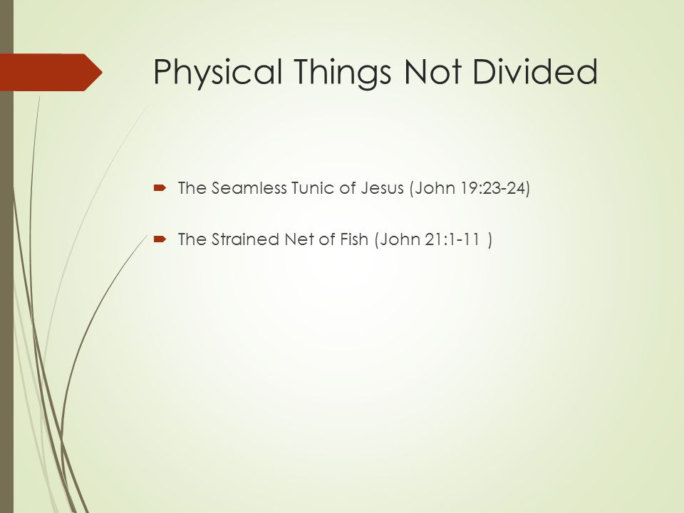 Physical Things Not Divided  The Seamless Tunic of Jesus (John 19:23-24)  The Strained Net of Fish (John 21:1-11 )