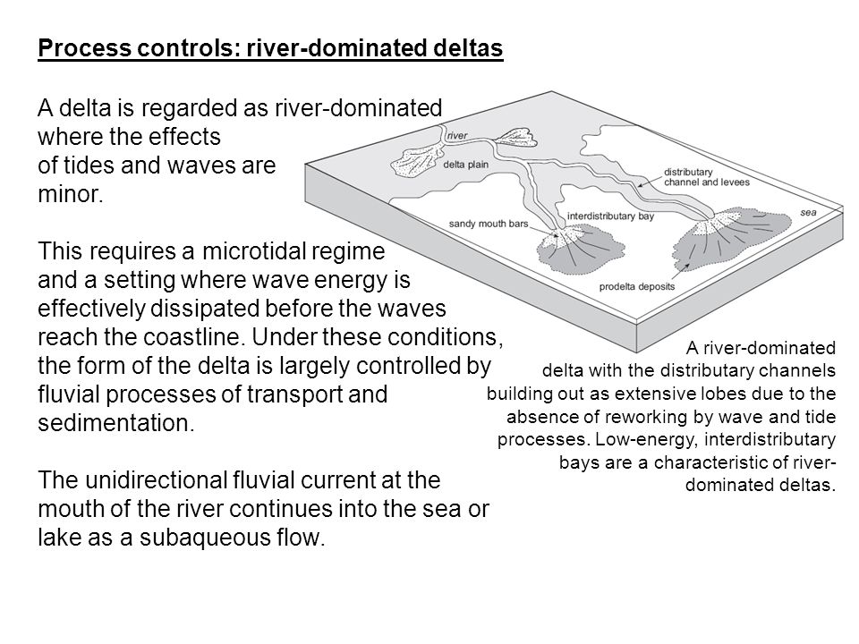 A delta is regarded as river-dominated where the effects of tides and waves are minor. This requires a microtidal regime and a setting where wave ener