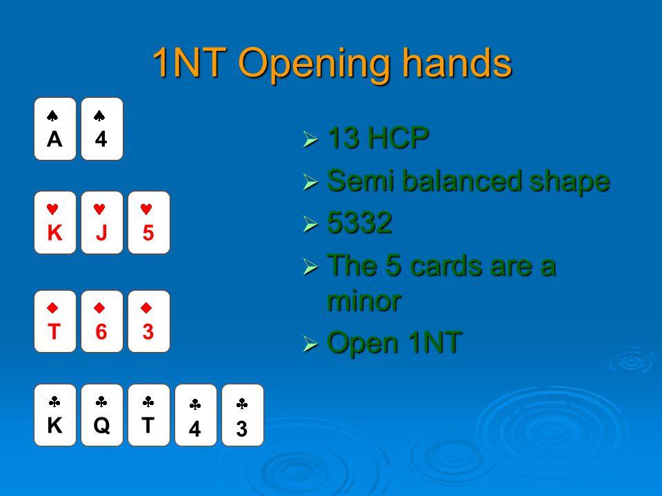 1NT Opening hands  13 HCP  Semi balanced shape  5332  The 5 cards are a minor  Open 1NT KK QQ TT 44 TT 66 33 K J 5 AA 44 33